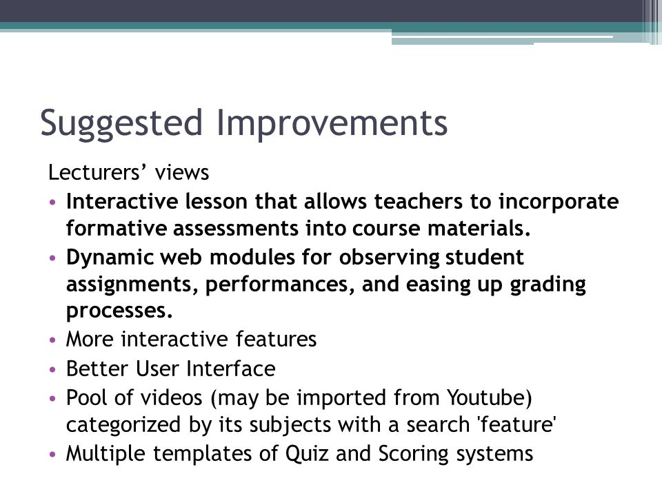 Suggested Improvements Lecturers' views Interactive lesson that allows teachers to incorporate formative assessments into course materials.