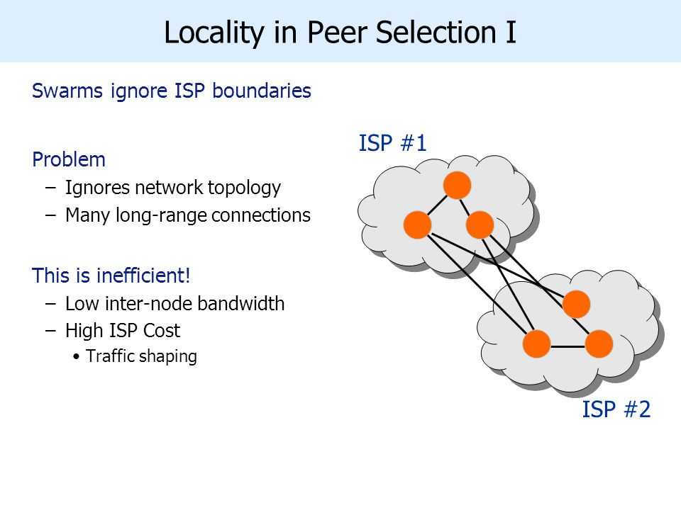 Locality in Peer Selection I Swarms ignore ISP boundaries Problem –Ignores network topology –Many long-range connections This is inefficient.