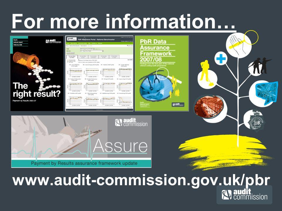 For more information… www.audit-commission.gov.uk/pbr