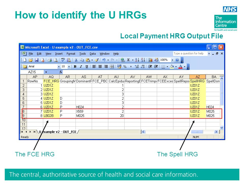 How to identify the U HRGs The FCE HRGThe Spell HRG Local Payment HRG Output File