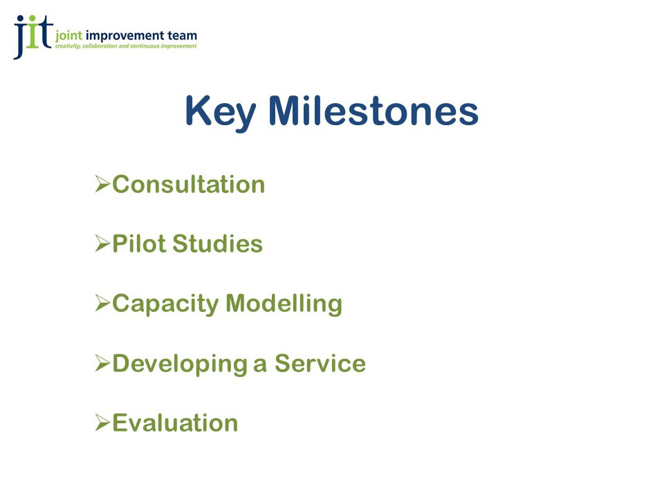 Key Milestones  Consultation  Pilot Studies  Capacity Modelling  Developing a Service  Evaluation
