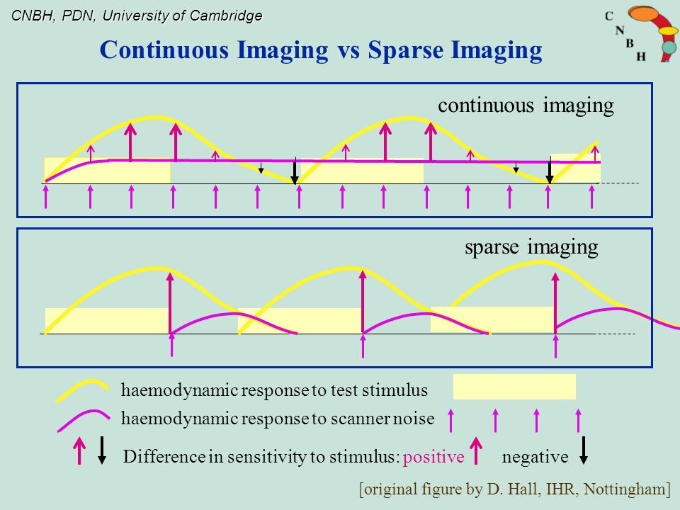 CNBH, PDN, University of Cambridge Difference in sensitivity to stimulus: positive negative haemodynamic response to test stimulus haemodynamic response to scanner noise sparse imaging continuous imaging [original figure by D.
