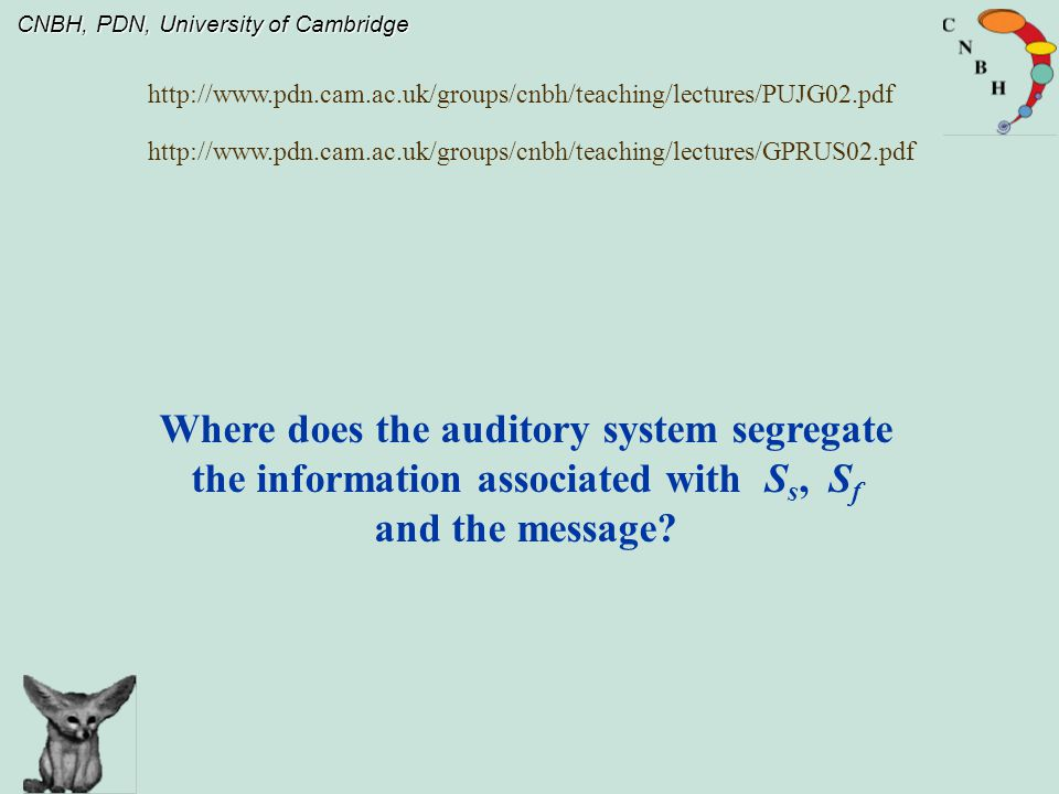 CNBH, PDN, University of Cambridge Where does the auditory system segregate the information associated with S s, S f and the message.
