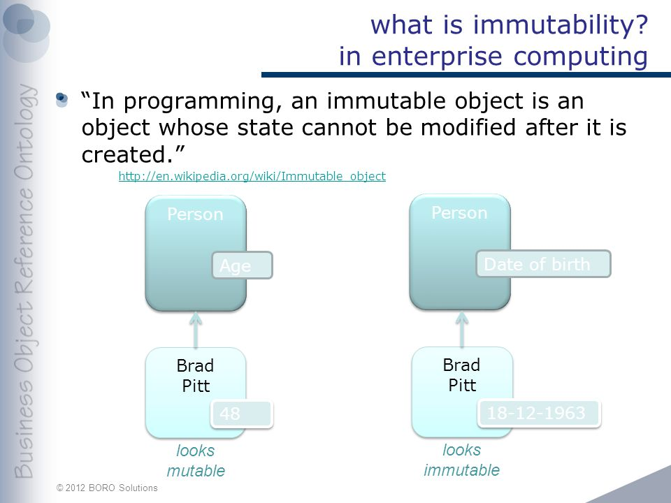 © 2012 BORO Solutions what is immutability.