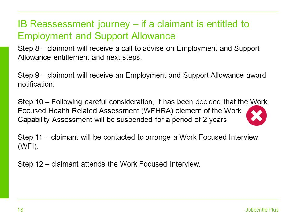 Jobcentre Plus 18 IB Reassessment journey – if a claimant is entitled to Employment and Support Allowance Step 8 – claimant will receive a call to adv