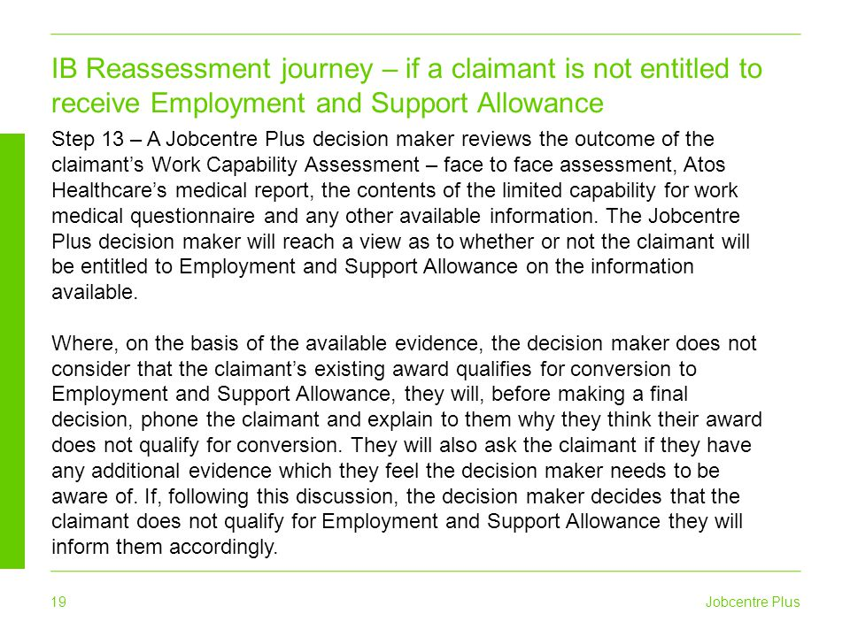 Jobcentre Plus 19 IB Reassessment journey – if a claimant is not entitled to receive Employment and Support Allowance Step 13 – A Jobcentre Plus decis