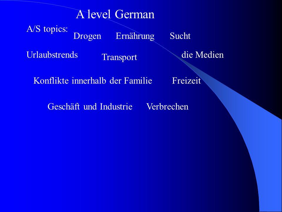 A level German A/S topics: DrogenErnährungSucht Urlaubstrends Transport die Medien Konflikte innerhalb der FamilieFreizeit Geschäft und IndustrieVerbrechen