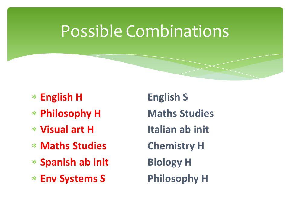  English HEnglish S  Philosophy HMaths Studies  Visual art HItalian ab init  Maths Studies Chemistry H  Spanish ab init Biology H  Env Systems SPhilosophy H Possible Combinations