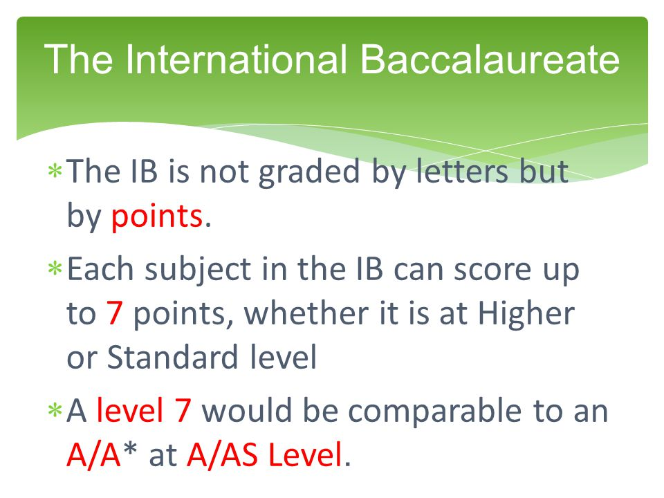  The IB is not graded by letters but by points.