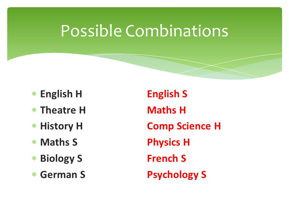  English HEnglish S  Theatre HMaths H  History HComp Science H  Maths SPhysics H  Biology SFrench S  German SPsychology S Possible Combinations