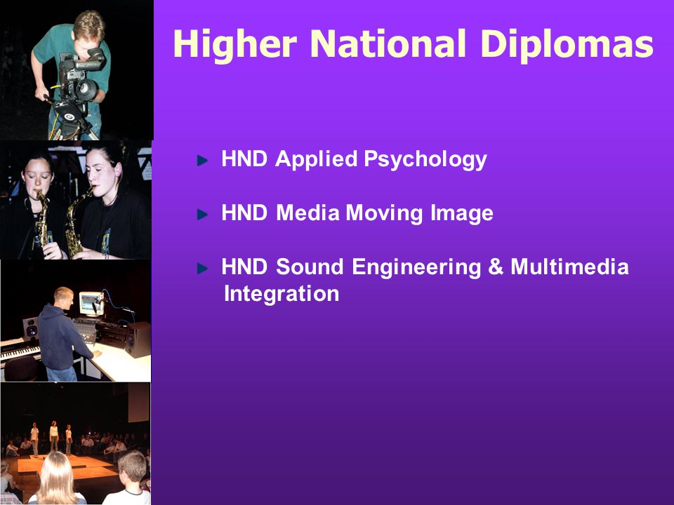 Higher National Diplomas HND Applied Psychology HND Media Moving Image HND Sound Engineering & Multimedia Integration