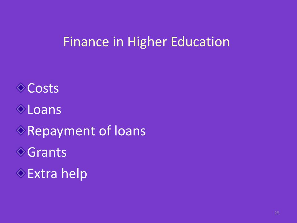 Finance in Higher Education Costs Loans Repayment of loans Grants Extra help 25