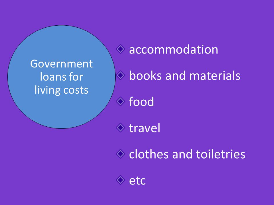Government loans for living costs accommodation books and materials food travel clothes and toiletries etc