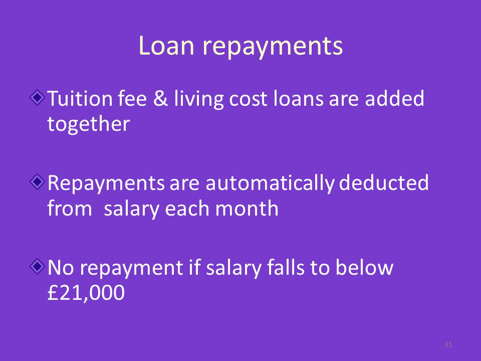 Loan repayments Tuition fee & living cost loans are added together Repayments are automatically deducted from salary each month No repayment if salary falls to below £21,000 31
