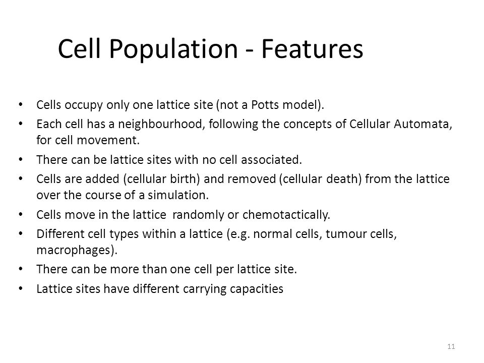 Cell Population - Features Cells occupy only one lattice site (not a Potts model).