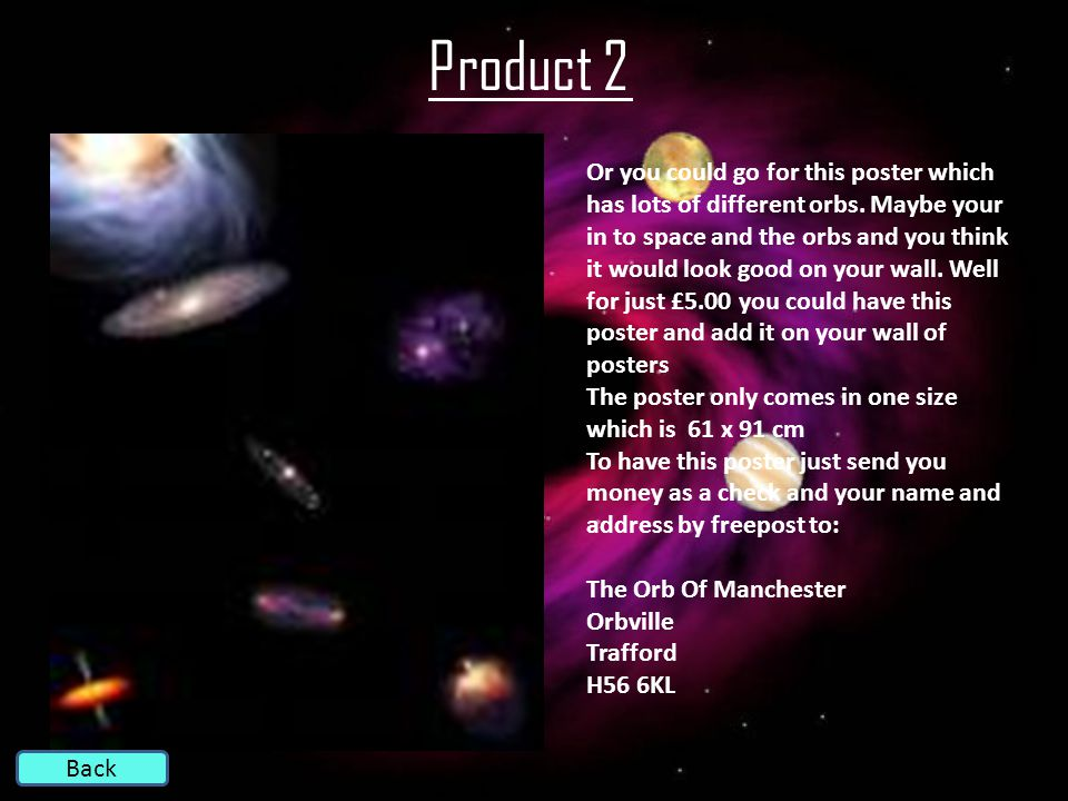 Product 2 Back Or you could go for this poster which has lots of different orbs.