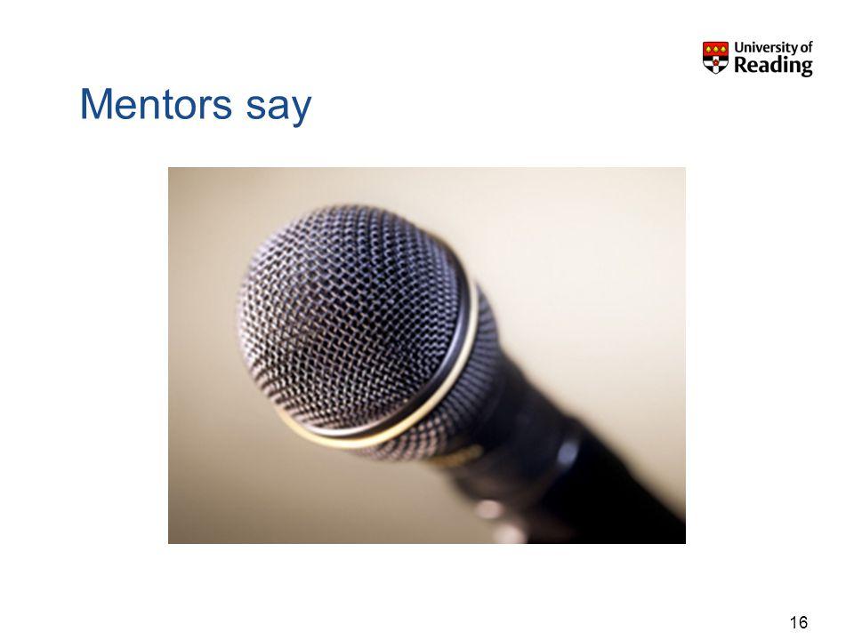 16 Mentors say