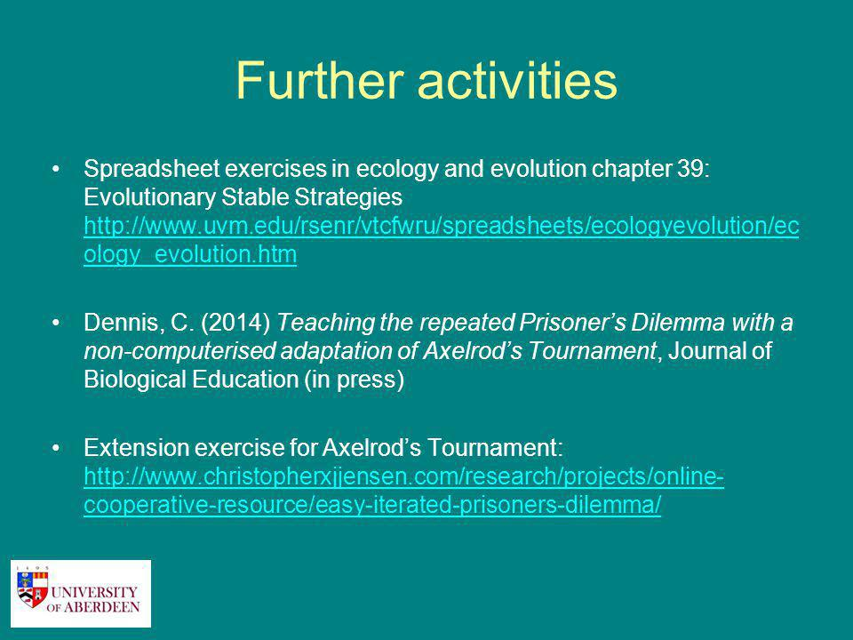 Further activities Spreadsheet exercises in ecology and evolution chapter 39: Evolutionary Stable Strategies http://www.uvm.edu/rsenr/vtcfwru/spreadsheets/ecologyevolution/ec ology_evolution.htm http://www.uvm.edu/rsenr/vtcfwru/spreadsheets/ecologyevolution/ec ology_evolution.htm Dennis, C.