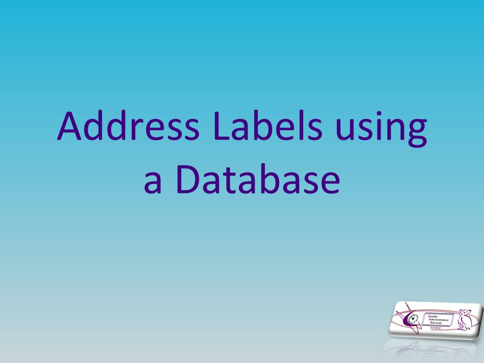 Address Labels using a Database