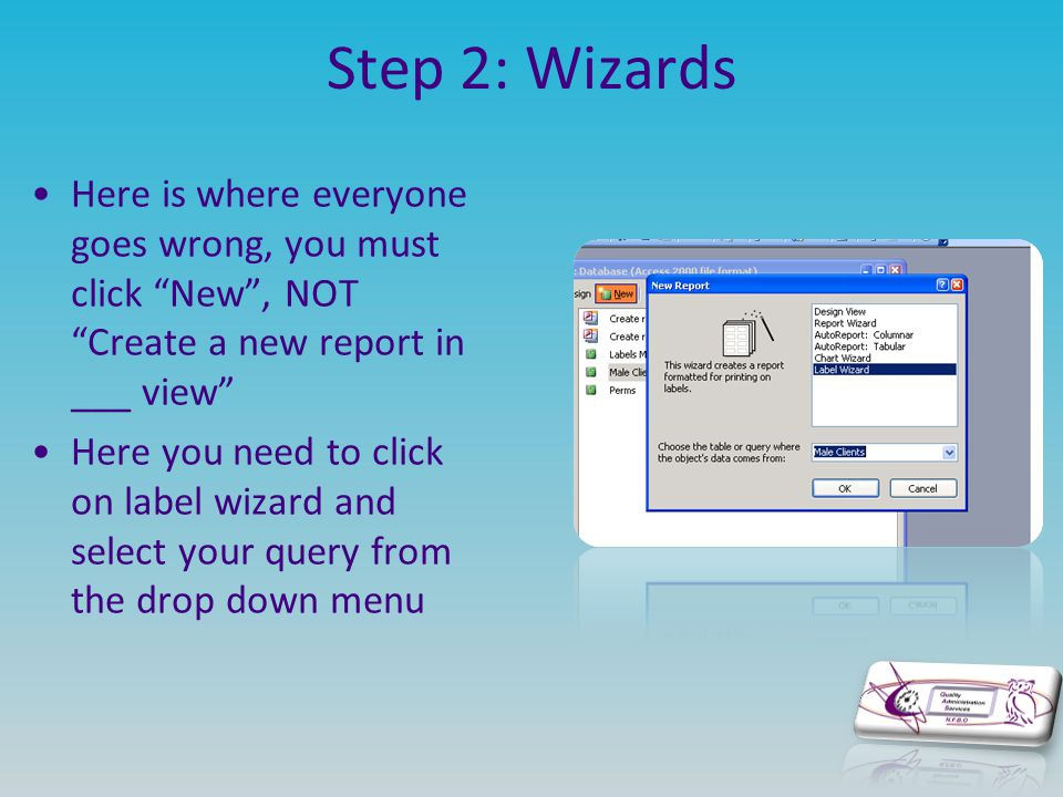 "Step 2: Wizards Here is where everyone goes wrong, you must click ""New"", NOT ""Create a new report in ___ view"" Here you need to click on label wizard"