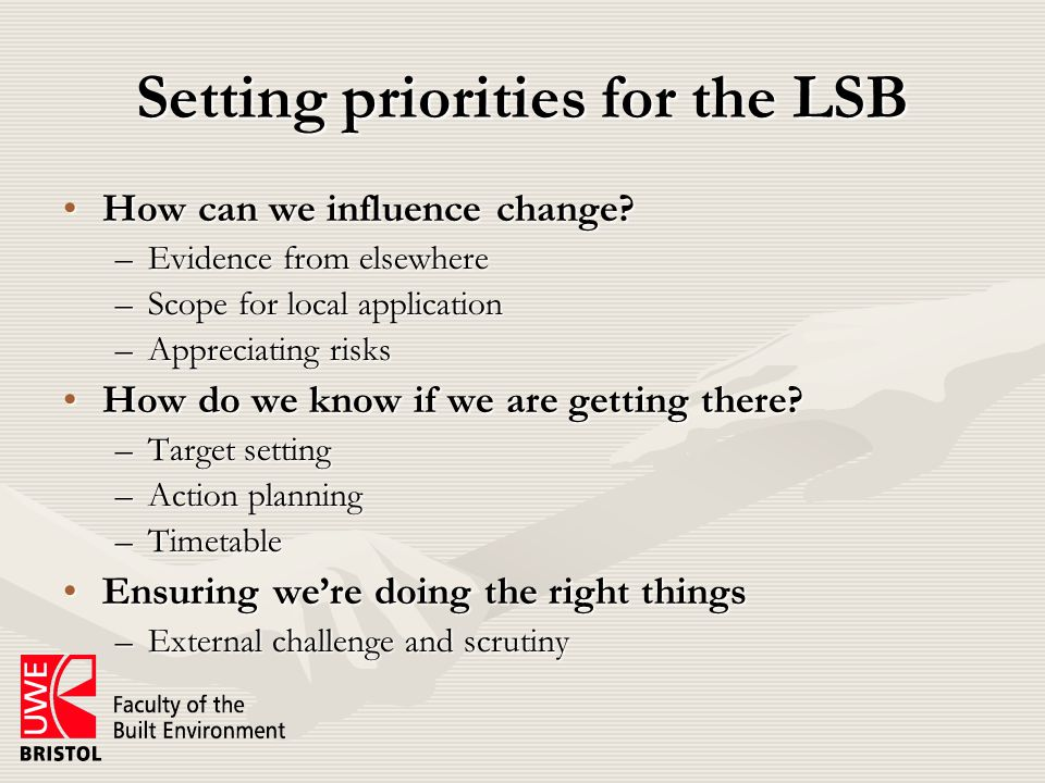 Setting priorities for the LSB How can we influence change How can we influence change.