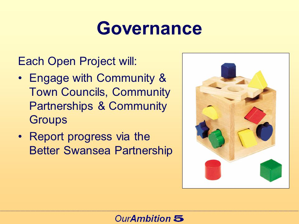 Governance Each Open Project will: Engage with Community & Town Councils, Community Partnerships & Community Groups Report progress via the Better Swansea Partnership