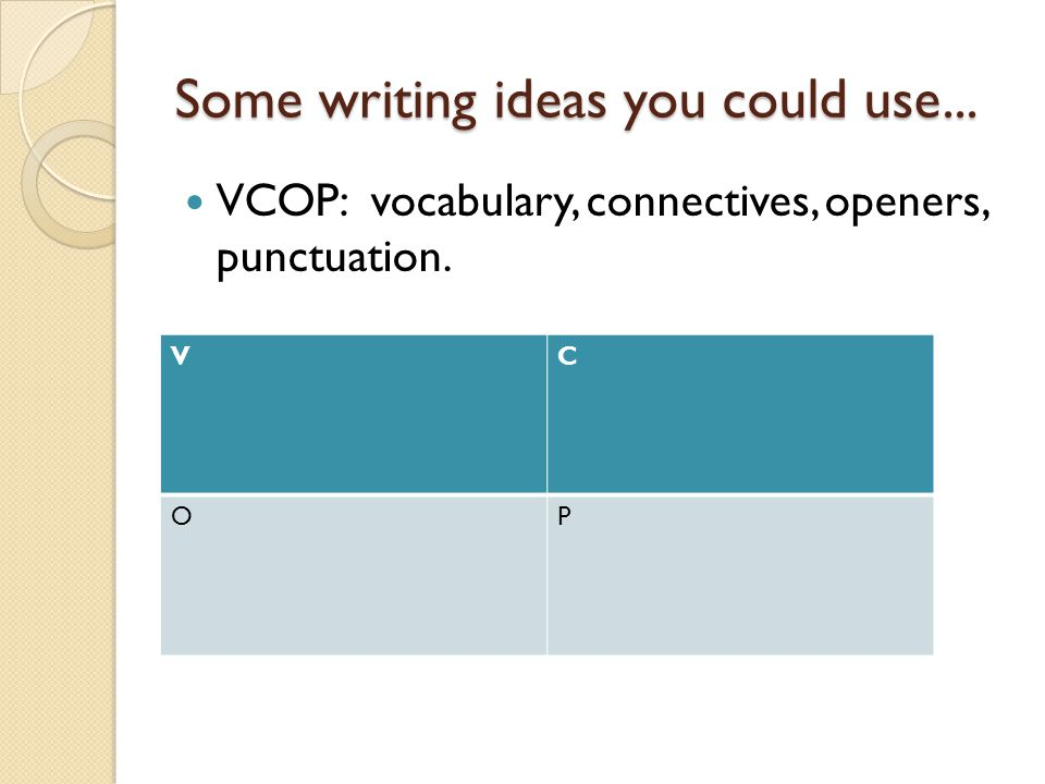 You can use VCOP to...Write thank you letters or birthday cards.
