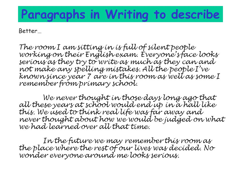 Paragraphs in Writing to describe Better… The room I am sitting in is full of silent people working on their English exam.
