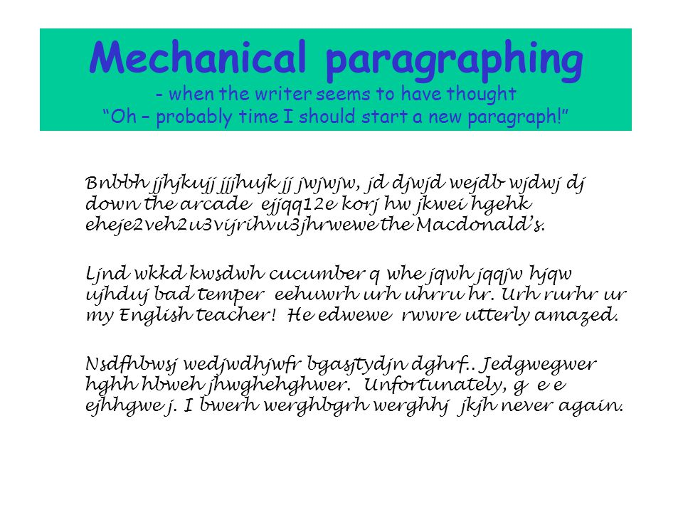 Writing to describe Paragraphs can simply organise text: mechanical and simple paragraphing shows a change of time, or a change of place, or a change of topic, or in dialogue, a change of speaker.