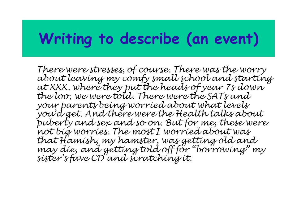 Writing to describe (an event) There were stresses, of course.