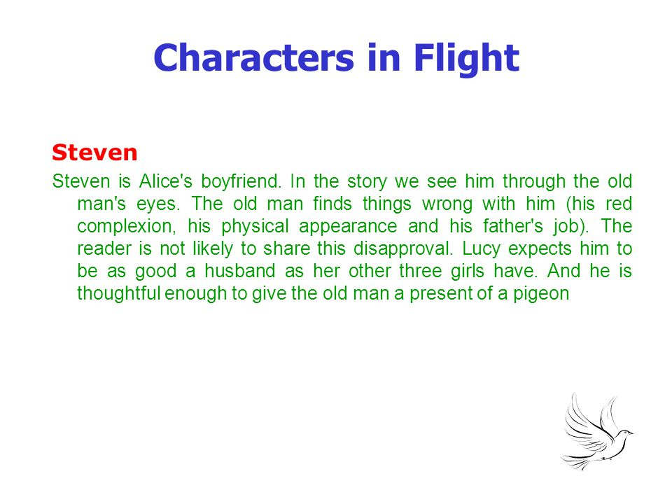 Characters in Flight Steven Steven is Alice's boyfriend. In the story we see him through the old man's eyes. The old man finds things wrong with him (
