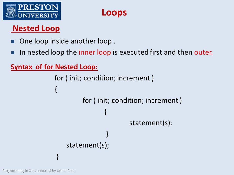 Loops Nested Loop n One loop inside another loop.