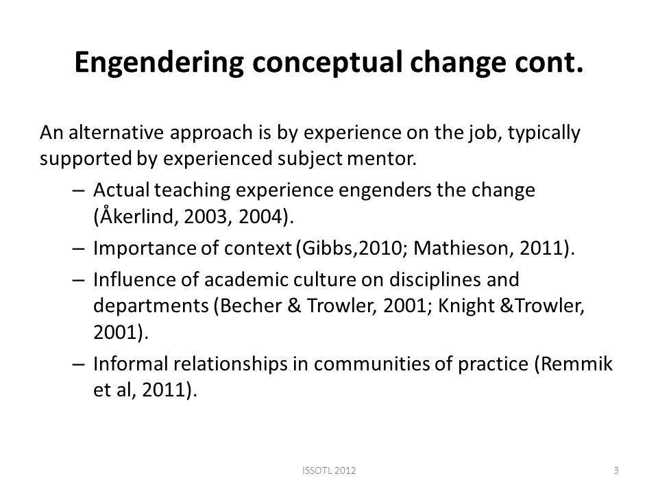 Engendering conceptual change cont.