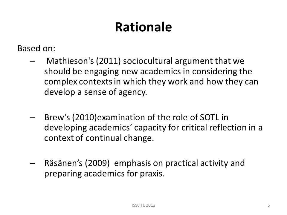 Rationale Based on: – Mathieson s (2011) sociocultural argument that we should be engaging new academics in considering the complex contexts in which they work and how they can develop a sense of agency.