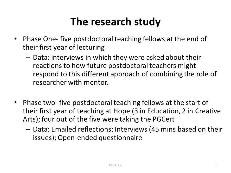 The research study Phase One- five postdoctoral teaching fellows at the end of their first year of lecturing – Data: interviews in which they were asked about their reactions to how future postdoctoral teachers might respond to this different approach of combining the role of researcher with mentor.
