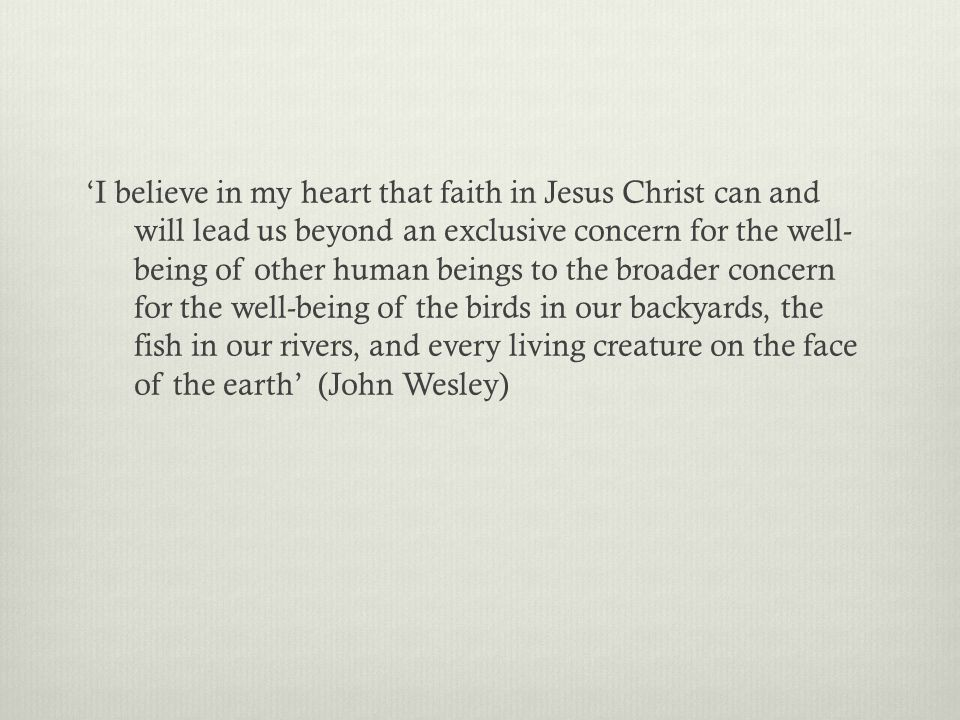 'I believe in my heart that faith in Jesus Christ can and will lead us beyond an exclusive concern for the well- being of other human beings to the broader concern for the well-being of the birds in our backyards, the fish in our rivers, and every living creature on the face of the earth' (John Wesley)