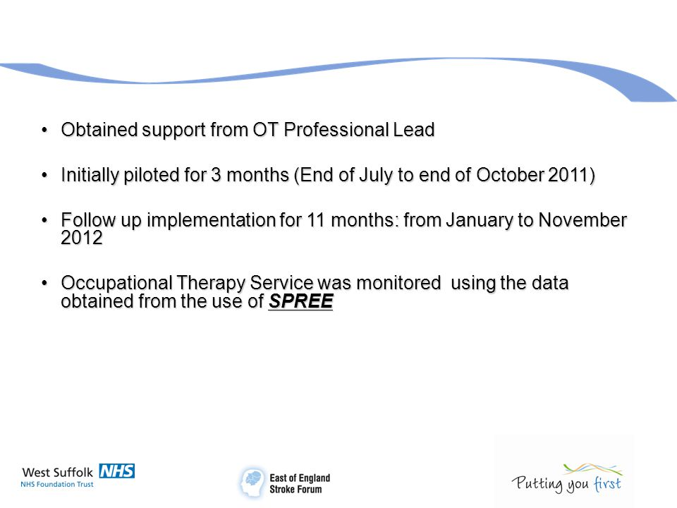 Obtained support from OT Professional LeadObtained support from OT Professional Lead Initially piloted for 3 months (End of July to end of October 201