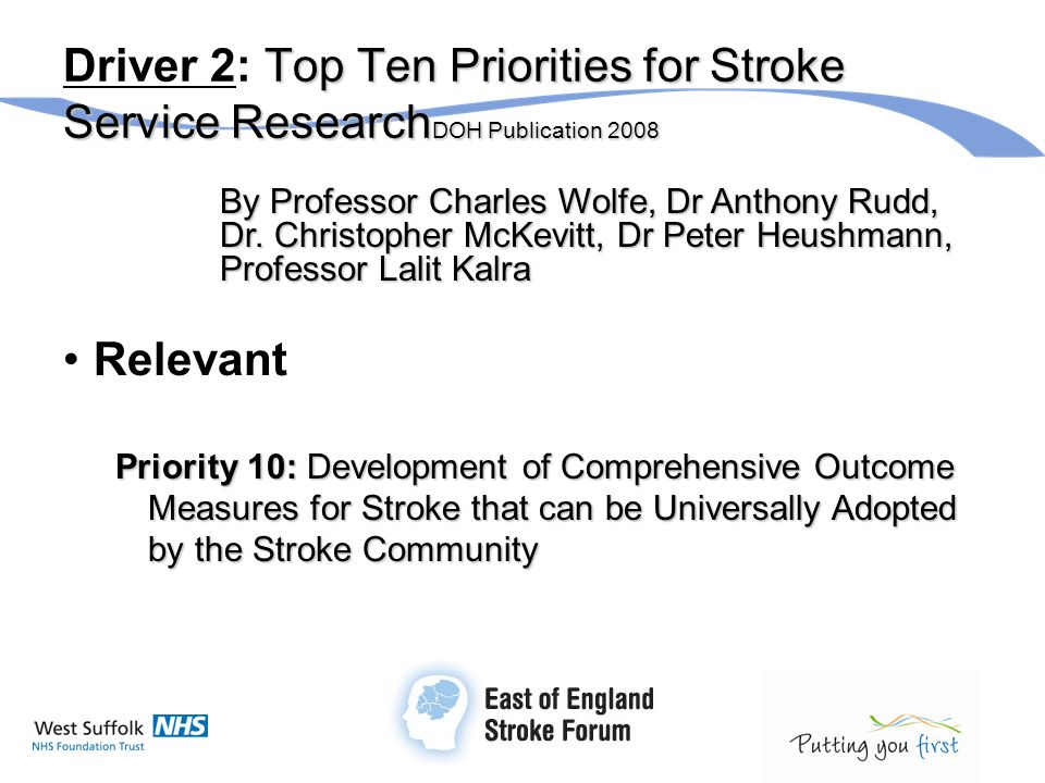 Top Ten Priorities for Stroke Service Research DOH Publication 2008 Driver 2: Top Ten Priorities for Stroke Service Research DOH Publication 2008 By Professor Charles Wolfe, Dr Anthony Rudd, Dr.