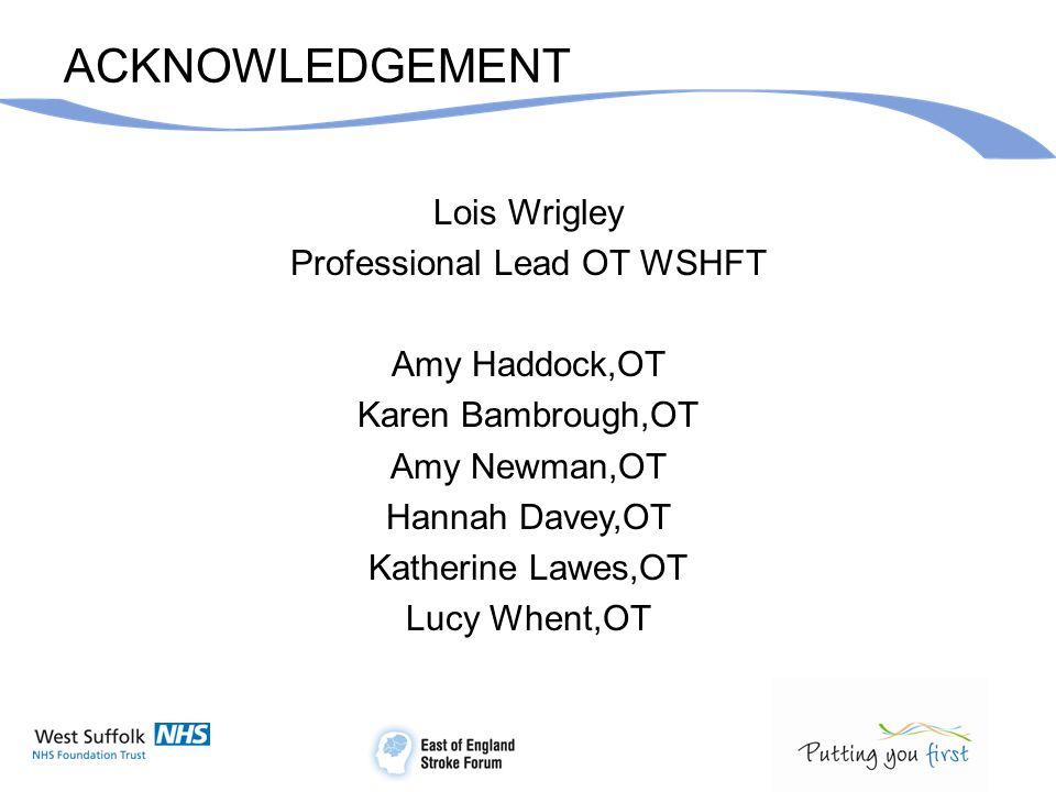 ACKNOWLEDGEMENT Lois Wrigley Professional Lead OT WSHFT Amy Haddock,OT Karen Bambrough,OT Amy Newman,OT Hannah Davey,OT Katherine Lawes,OT Lucy Whent,OT