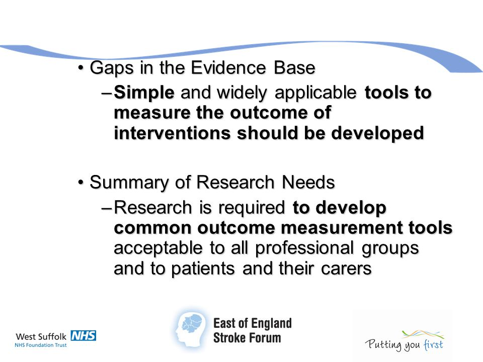 Gaps in the Evidence BaseGaps in the Evidence Base –Simple and widely applicable tools to measure the outcome of interventions should be developed Sum