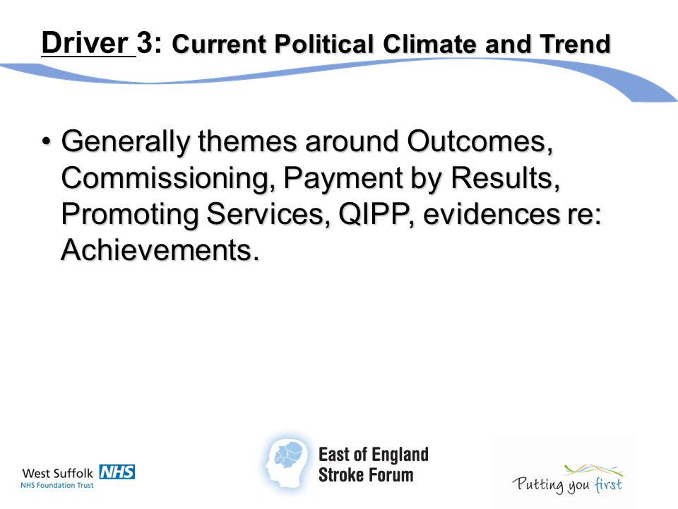 Current Political Climate and Trend Driver 3: Current Political Climate and Trend Generally themes around Outcomes, Commissioning, Payment by Results,