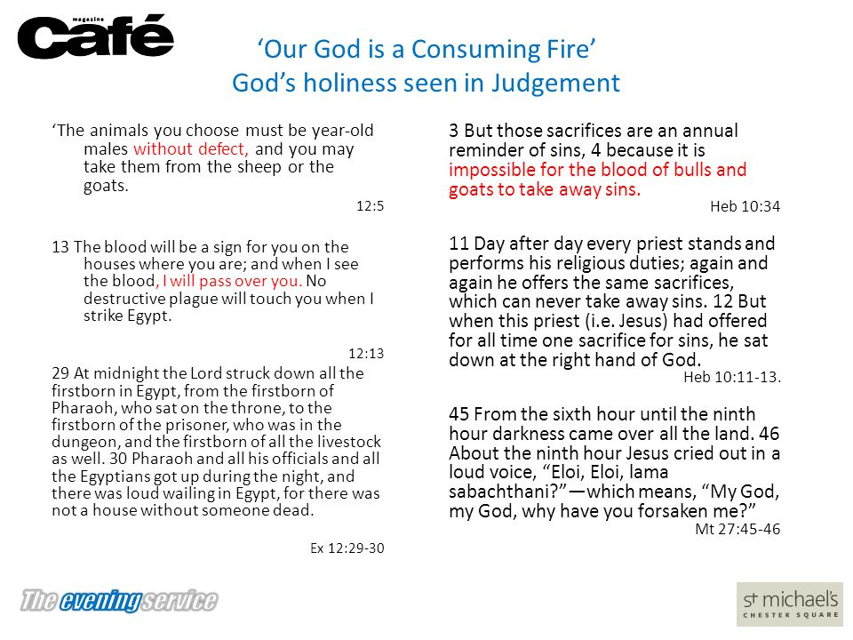 'Our God is a Consuming Fire' God's holiness seen in Judgement 'The animals you choose must be year-old males without defect, and you may take them fr