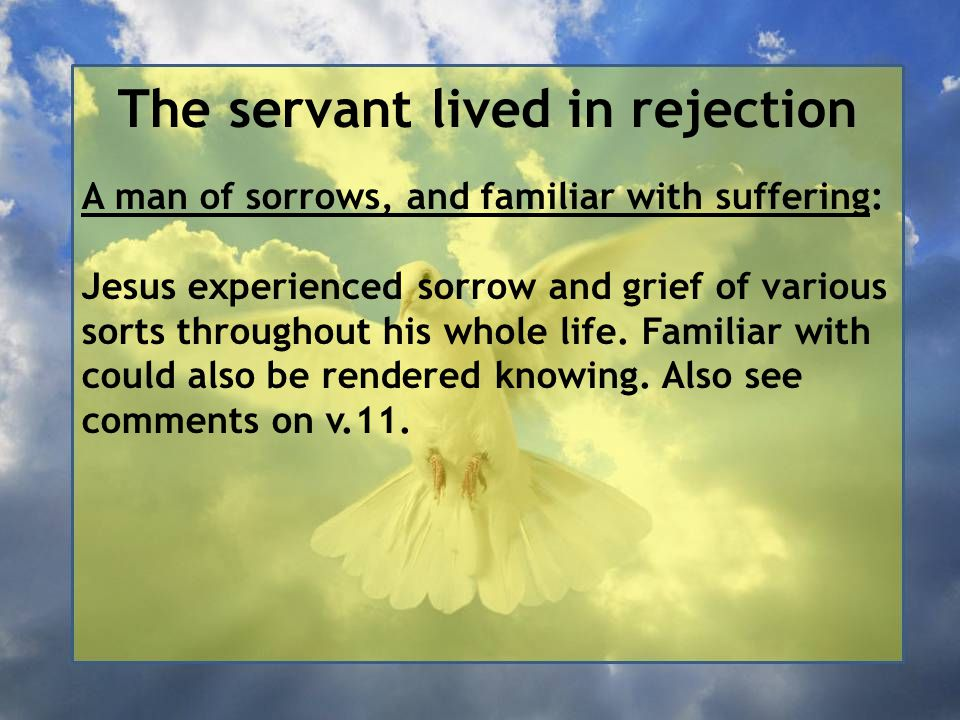 The servant lived in rejection A man of sorrows, and familiar with suffering: Jesus experienced sorrow and grief of various sorts throughout his whole life.