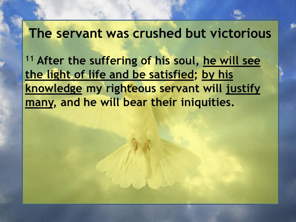 The servant was crushed but victorious 11 After the suffering of his soul, he will see the light of life and be satisfied; by his knowledge my righteous servant will justify many, and he will bear their iniquities.