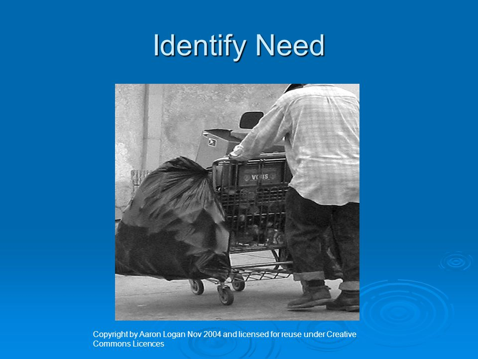 Identify Need Copyright by Aaron Logan Nov 2004 and licensed for reuse under Creative Commons Licences