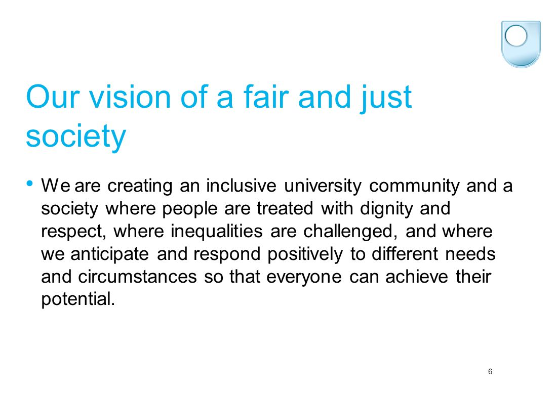 6 Our vision of a fair and just society We are creating an inclusive university community and a society where people are treated with dignity and resp