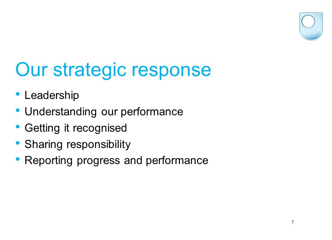 7 Our strategic response Leadership Understanding our performance Getting it recognised Sharing responsibility Reporting progress and performance