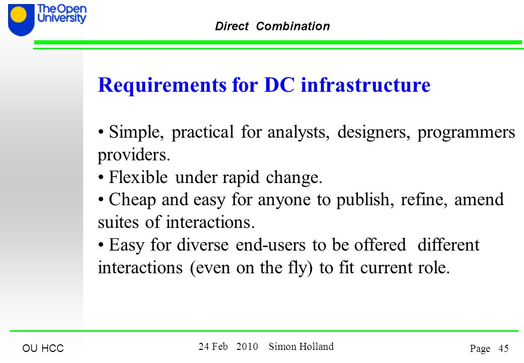OU HCC Feb 2010 Simon Holland Page Direct Combination Requirements for DC infrastructure Simple, practical for analysts, designers, programmers providers.