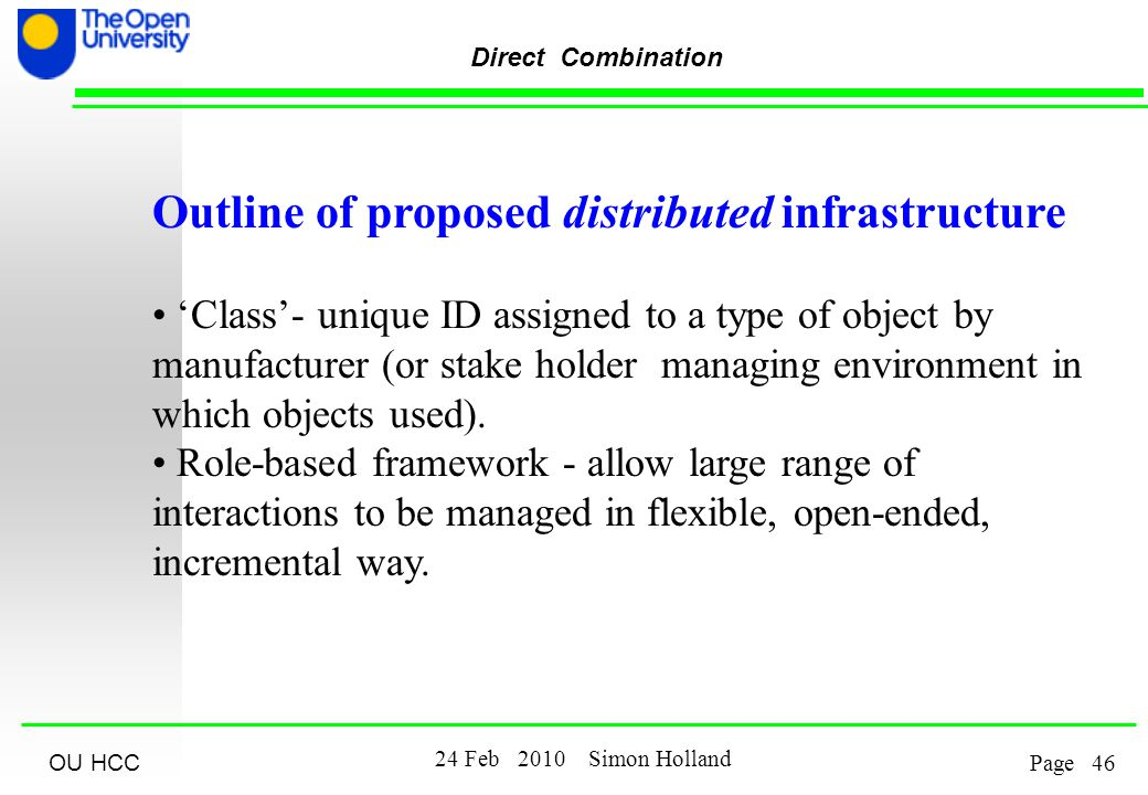 OU HCC Feb 2010 Simon Holland Page Direct Combination Outline of proposed distributed infrastructure 'Class'- unique ID assigned to a type of object by manufacturer (or stake holder managing environment in which objects used).