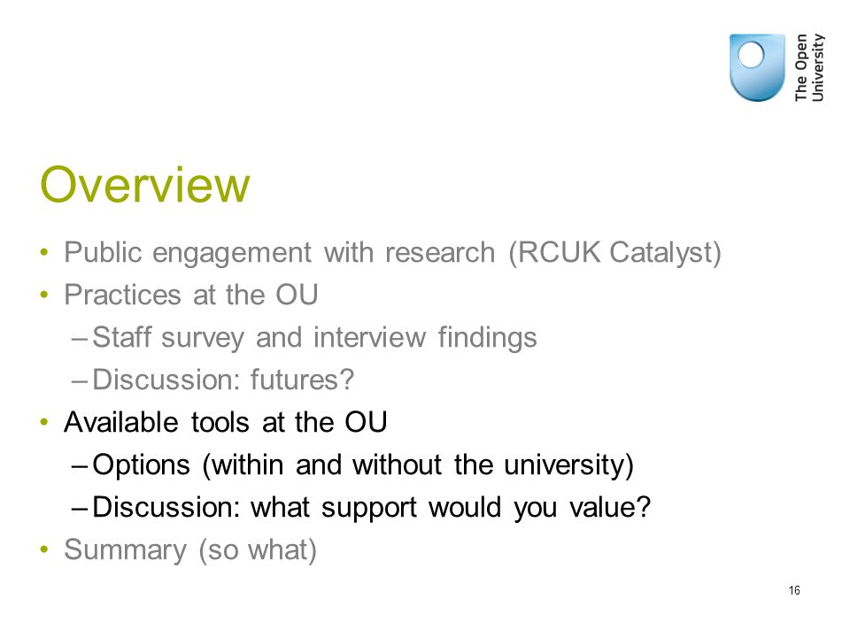 Overview Public engagement with research (RCUK Catalyst) Practices at the OU –Staff survey and interview findings –Discussion: futures.